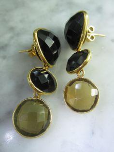 Ohrstecker - TOM K Onyx Ohrstecker Gold Onyx Luxus Fashion - ein Designerstück von TOMKJustbe bei DaWanda