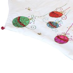 """56"""" White Tree Skirt with Colorful Sequin Ornaments"""