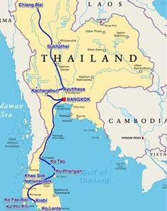 Karte Flughäfen für Urlaub und Touren Planung | Thailand ...