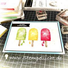 Stempellicht: Eiszeit Ice Cream Punch, Cream 21, Happy Birthday, Birthday Ideas, Cool Cards, Popsicles, Scrapbook Cards, Stampin Up Cards, Sprinkles