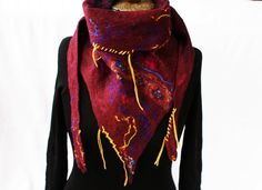 Wool Triangle Scarf Cherry Red Burgundy Violet Yellow Contrast Stitch Boho Chic Shawl Bohemian Felted Wrap Eco Fashion Handmade in Norway Boho Chic, Bohemian, Green Soap, Triangle Scarf, Neck Scarves, Cherry Red, Shawl, Contrast, Red Burgundy