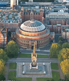 London's skyline , the helicopter hovering above London this morning photographed the Royal Albert Hall and Memorial