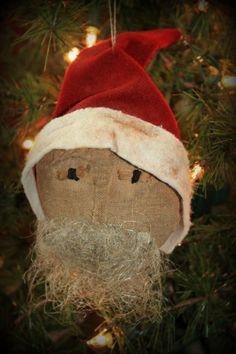 Primitive Santa Tree Ornament