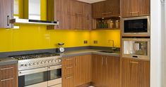 Yellow glass splashback