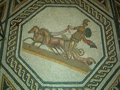 Mosaic of Achilles and Hector. Many mosaics displayed heroic acts. The twisted rope patterns around the edge is found in most Ancient Roman mosaics