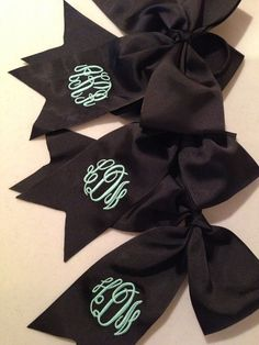 Monogrammed Cheer Bow in Black by TheSouthernPeach on Etsy, $10.00