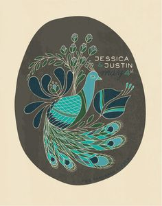 peacock wedding poster- another guest book possibility