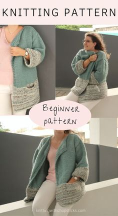 The cozy oversized knit sweater features an easy garter and stockinette stitch and simple construction, laid out in easy step-by-step instructions. The Apricity Cardigan is a perfect cardigan pattern for beginners. #knitcardigan #cardiganknittingpattern #cardiganknitpattern #cardiganpattern Winter Knitting Patterns, Beginner Knitting Patterns, Beginner Crochet, Knitting For Beginners, Easy Knitting, Knitted Coat Pattern, Long Knit Cardigan, Crochet Cardigan Pattern, Oversized Sweaters
