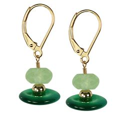 ChrysoprasePrehnite Button/Faceted Round Earrings by RoyalRebirth, $99.00