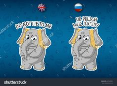 Stickers elephant. Deception. Noodles on the ears. Dissatisfied. Big set  in English and Russian languages. Vector, cartoon