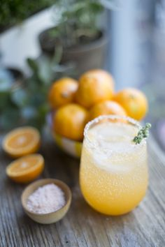Winter citrus cocktail. •  Juice of 3 clementines • 1 oz triple sec • 1 oz tequila •  Sprig of marjoram •  Clementine wedge for garnish • Pinch of cayenne pepper • Salt •   Moisten the rim of your glass with clementine juice. Combine cayenne pepper and salt in a shallow bowl or plate. Turn the glass over onto the plate and coat the rim. Pour juice, triple sec, and tequila into a shaker. Shake well and pour over ice. Garnish with marjoram sprig.
