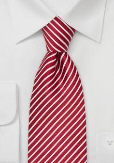 Seidenkrawatte gestreift Rot mit Weiß