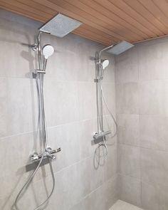"""Concept grigio lattia ja seinä , katto tervaleppäpaneelia /// DekotaloVulcanus on Instagram: """"#kylpyhuone alkaa näyttää valmiilta😍 #suihku t paikoillaan #dekotalo #uusikoti #rakentajat2019"""" Shower Bathroom, Laundry In Bathroom, Bathroom Wall, Master Room, Track Lighting, Toilet, Bathrooms, Ceiling Lights, Instagram"""