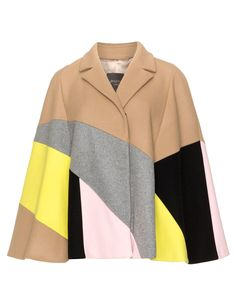 Persona Wool blend felt colour blocked cape in Camel / Pink
