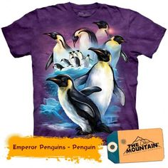 Love this cool purple emperor penguin t-shirt from The Mountain! Great gift idea for someone who loves penguins! Penguin Ties, Penguin T Shirt, Bear T Shirt, Tee Shirt, Cute Wild Animals, Bag Women, Purple T Shirts, Tie Dye T Shirts, Tshirts Online