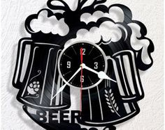BEER vinyl wall clock