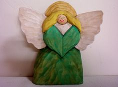 Hand carved Folk Art Angel relief style wood by OldBearWoodcarving, $20.00