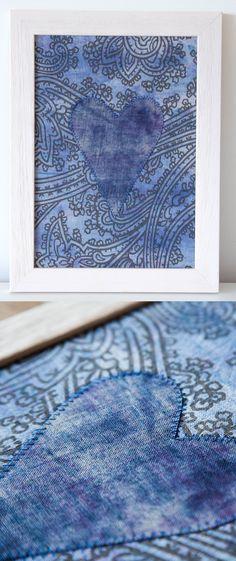 Items similar to Textile Art- Hand-dyed Heart- Blue Linen Artwork Boho on Etsy Shops, Home Decor Accessories, Textile Art, June, Textiles, House Design, Colours, Boho, Heart