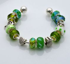 Cuff Style Bracelet with Green Murano Glass by grammysattic12, $24.00