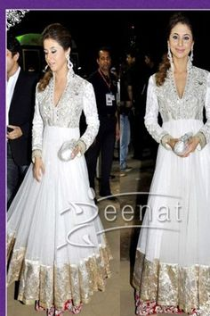 Urmila Mantodkar White Net Bollywood Replica Gown @ 50% discount