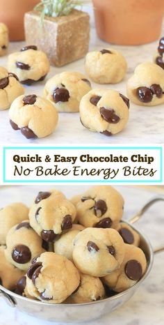 These no bake energy bites with chocolate chips, are just the right bite when you're craving a little something sweet. Super quick and easy to make-you can whip them up in 5 minutes for a healthy…MoreMore