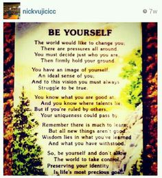 Nick Vujicic . Be Yourself . Self-Acceptance