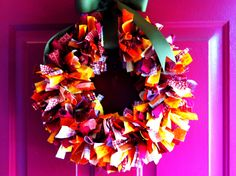 Fall Wreath made with fabric strips. Easy and cute!