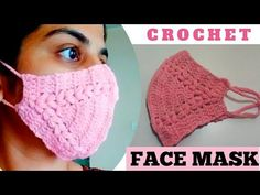 How to Crochet Quick and Easy Face Mask - Face Mask Crochet Crafts, Easy Crochet, Crochet Projects, Free Crochet, Knit Crochet, Crochet Mask, Crochet Faces, Easy Face Masks, Diy Face Mask