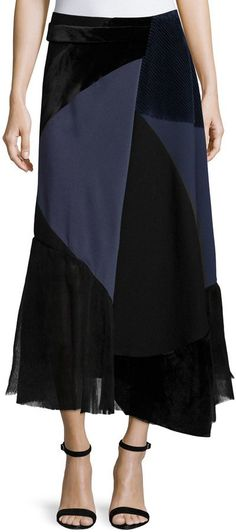 Pin for Later: 34 Wrap Skirts to Get All Tied Up in This Spring  Victoria Beckham Patchwork Midi Wrap Skirt, Navy/Black ($2,950)