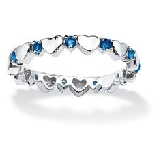 Birthstone Stackable Eternity Heart Ring in .925 Sterling Silver ($34) ❤ liked on Polyvore featuring jewelry, rings, blue, jewelry & watches, stackable rings, sterling silver eternity ring, heart shaped rings, stackable eternity rings and sterling silver heart ring