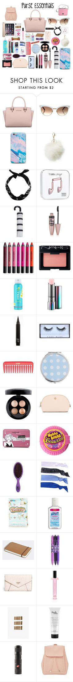 """""""Purse Essentials"""" by ale-needam on Polyvore featuring Michael Kors, Gucci, Charlotte Russe, New Look, MANGO, Maybelline, Urban Decay, NARS Cosmetics, COOLA Suncare and MAC Cosmetics"""