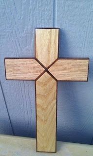 oak and black walnut Small Wood Projects, Projects To Try, Crafts To Do, Wood Crafts, Woodworking Plans, Woodworking Projects, Button Hole Stitch, Wooden Crosses, Cross Patterns