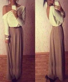 Shoulder Long Sleeve Color Block Chiffon Backless Dress