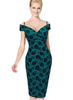 Coton Polyester Florale Mancheron Au niveau du genou Vintage Robes (1015670) @ floryday.com