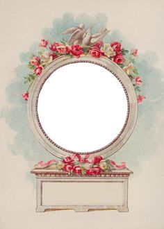 Wings of Whimsy ~ Vintage Die Cut Round Rose Frame PNG-file (transparent background)