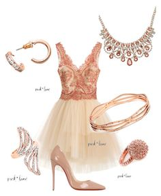 Rose Gold Royalty by ani-mcpherson-schmidt on Polyvore featuring Notte by Marchesa, Christian Louboutin, Park Lane and parklanejewelry
