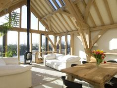 We have three timber frame show homes for you to visit, depending on your taste and location. Book now to visit a timber frame show home. Oak Frame House, A Frame Cabin, Sunroom Kits, Oak Framed Buildings, Self Build Houses, Self Build House Kits, Timber Frame Homes, Metal Homes, Timber Frames