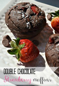 Double chocolate strawberry muffins recipe. Such an easy breakfast treat!