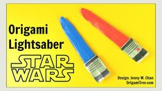 """This tutorial will show you how to fold a Star Wars Origami Lightsaber. This easy DIY paper lightsaber is a fun craft that you can do with the kids, or in the classroom. You can decorate the lightsaber handle with markers (I used a silver and black Money Origami, Paper Crafts Origami, Diy Paper, Origami Swan, Origami Rose, Origami Bird, How To Make Origami, How To Make Paper, Sabre Laser Star Wars"
