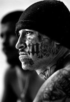 mara salvatrucha member by Luis Sinco Face Tattoos, Body Art Tattoos, Girl Tattoos, Tattoos For Guys, Lowrider, Chicano, Gangster Tattoos, Badass Tattoos, Mafia