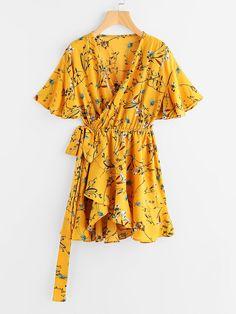 Robe avec lacet de cordon imprimé fleur -French SheIn(Sheinside)