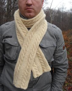 Knit Scarf Men Scarf Mens Scarf Knitting Knit Shawl Mens Cowl Extra Long Cable Knit Wool Mens Scarf White Handknitted Scarf Shawl - pinned by pin4etsy.com