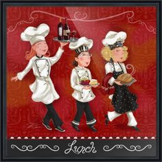 Lady Chefs - Lunch Canvas Print / Canvas Art by Shari Warren Chef Kitchen Decor, Kitchen Art, Chef Pictures, Wall Art Prints, Fine Art Prints, Framed Prints, Canvas Prints, Typographie Inspiration, Hippie Art