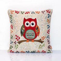 Owl pillow cover, Bird cushion, Nursery decor, Home Decor Pillow, Decorative pillows, Throw, Red pillow, 18 x 18, Toss pillow, Kids pillow,