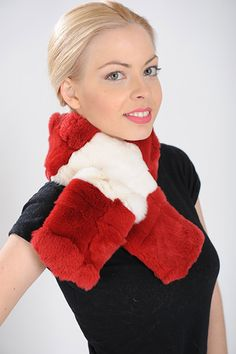 White and Red scarf of rex rabbit fur. Available for wholesale orders.