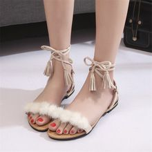 US $7.55 COOTELILI Real Fur Ankle Strap Gladiator Sandals Women Flats 2017 Summer Tassel Shoes Ladies Wedding Beach Sandals BOHEMIAN. Aliexpress product