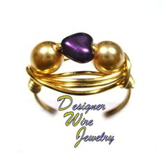 Czech Art Glass Amethyst Heart & Pearls Artisan Gold Tone Wire Wrap Ring All Sizes