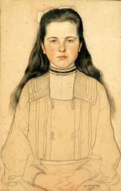 Portrait Of A Young Girl - William Strang (1859 – 1921, Scottish)
