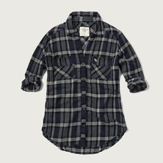 Abercrombie & Fitch Plaid Flannel Shirt (76 CAD) ❤ liked on Polyvore featuring tops, navy plaid, baby doll shirts, tartan plaid flannel shirt, navy shirt, flannel tops and navy blue flannel shirt