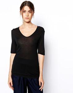 Black ASOSWHITE Silk Mix V-Neck T-Shirt $70 @ ASOS